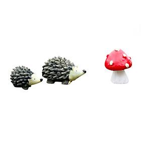 Moss Micro Landscape Ewelry Cartoon Hedgehog Three Pieces of DIY Small Accessories 5109037