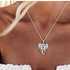 Women's Pendant Necklace - Elephant, Animal Vintage, Fashion, Folk Style Cute Silver Necklace Jewelry For Party, Daily, Casual