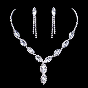 Women's Crystal Jewelry Set Rhinestone Drop Ladies, Fashion, Elegant, Bridal Include Drop Earrings Pendant Necklace Silver For Wedding Party Anniversary Congra