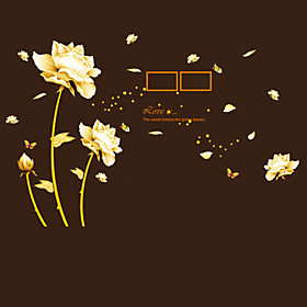 Creative DIY Gold Flower Time Wall Art Photo Stickers PVC Removable Living Room Sofa Wall Stickers 5064082