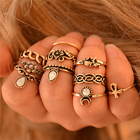 Women's Knuckle Ring Rings Set Elephant Flower Animal Ladies Personalized Vintage Bohemian Punk Fashion Ring Jewelry Silver / Golden For Wedding Party Gift Dai