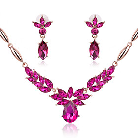 Women's Sapphire Jewelry Set Flower Statement, Ladies Include Necklace / Earrings Dark Blue / Rose / Green For Wedding Party Daily Casual Masquerade Engagement