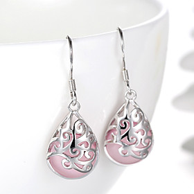 Women's Synthetic Opal Drop Earrings Sterling Silver Silver Earrings Drop Ladies Fashion Bridal Jewelry White / Pink For Wedding Party Daily Casual