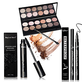 12 Earth Color Nude  Glitter Eyeshadow Palette Cosmetic Makeup Set  Palettes 1PCS Mascara 1pcs Liquid Eyeliner 5072247