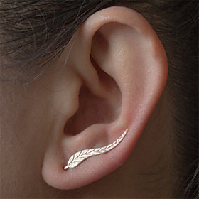 Women's Stud Earrings - Leaf Natural, Fashion, Balance of the Power Silver / Golden For Daily Casual