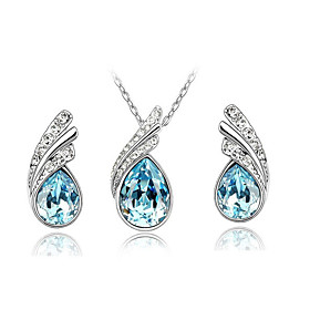 Women's Crystal Jewelry Set - Rhinestone, Austria Crystal Fashion Include Necklace / Earrings Fuchsia / Red / Navy For Daily Casual