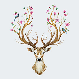 NEW Creative Sika Deer Living Room Bedroom Background Wall Stickers Fashion Cartoon Animals Wall Decals 5060598