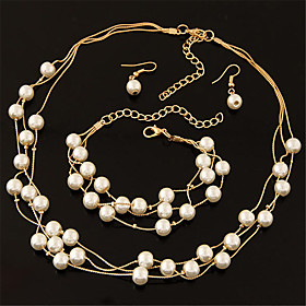 Women's Pearl Layered Floating Jewelry Set Pearl Ladies, Fashion, Elegant, Bridal, Multi Layer Include Drop Earrings Chain Necklace Pearl Necklace Silver / Gol