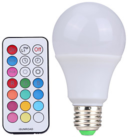 YWXLIGHT 1pc 10 W 500 lm E26 / E27 LED Globe Bulbs A60(A19) 12 LED Beads SMD Dimmable / Remote-Controlled / Decorative Cold White / RGB 220-240 V / 110-130 V