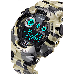 SANDA Men's Military Camouflage Design Digital LCD Waterproof Sports Watch