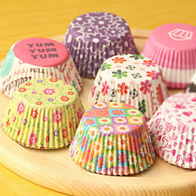 (Color random)100Pcs/Sale Cute Paper Cake Cup Liners Baking Cup Muffin Kitchen Cupcake dessert Ice cream Cases 5117256