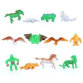 12pcs Animal Action Figures Set Modeling Eagle / Horse / Penguin / Bat / Platypus 4867854