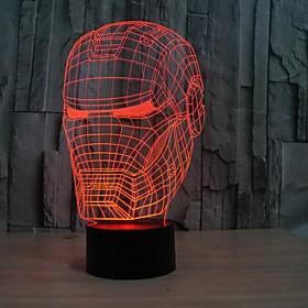 3D Illusion Night Light Iron Man Mask Shape LED Table Lamp as Gift 5074995