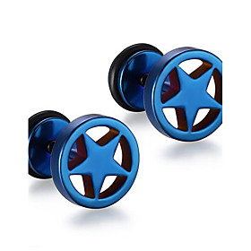 Men's Stud Earrings - Stainless Steel Star Punk, Fashion Blue / Golden / Rainbow For Christmas Gifts Daily Casual