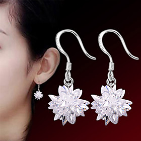 Women's Crystal Earrings - Sterling Silver, Silver Flower Punk, Fashion White For Wedding Party Daily