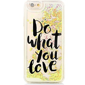 English Words Back Flowing Quicksand Liquid/Printing Pattern PC Hard Cover For iPhone 6s Plus/6 Plus/6s/6/SE/5s/5 5194556