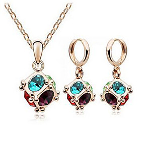 Women's Crystal Jewelry Set - Crystal Fashion Include Necklace / Earrings Blue For Party Daily Casual