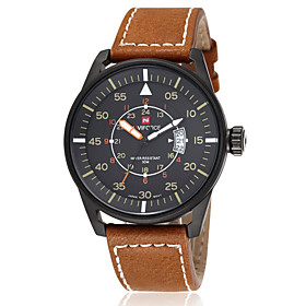 NAVIFORCE Men's Sports Watch Waterproof Dress Quartz Wrist Watch Real Leather Band Japan 2035 Movt (Assorted Colors) Cool Watch Unique Watch 2639970