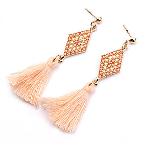 Women's Tassel Long Earrings Resin Gold Plated Earrings Statement Ladies Personalized Tassel Vintage Bohemian Jewelry Black / Green / Pink For Party Daily Casu