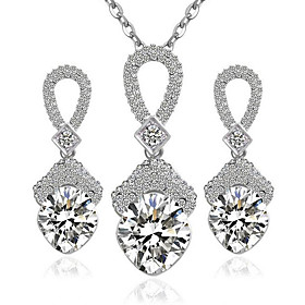 Women's Diamond Cubic Zirconia tiny diamond Jewelry Set Sterling Silver, Zircon Ladies, Fashion Include Necklace / Earrings White For Party Daily Casual Work