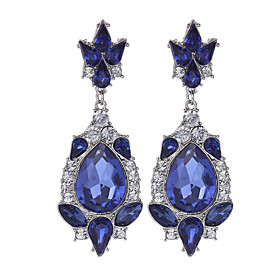 Women's Girls' Rhinestone Gold Plated Earrings Ladies Vintage Jewelry Blue For Wedding Party Daily Casual / Crystal