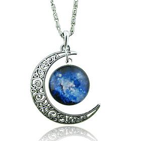 Women's Pendant Necklaces Moon Gemstone Glass Alloy Unique Design Fashion Galaxy European Red/Blue Red/White White/Blue Blue Purple/Blue 2047602