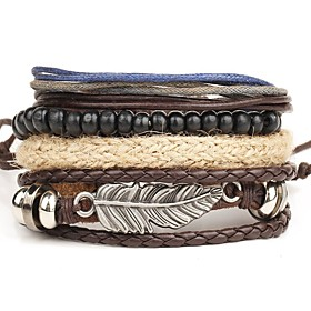 Men's Layered Wrap Bracelet / Leather Bracelet - Leather Wings Personalized, Punk, Multi Layer Bracelet Brown For Christmas Gifts / Daily / Casual 5146196