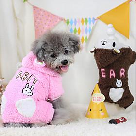 Cachorro Camisola com Capuz Macacão Roupas para Cães Mantenha Quente Desenhos Animados Café Rosa claro 5140825