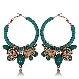 Women's Drop Earrings - Elephant, Animal Bohemian, European, Boho Black / Red / Green For Daily Casual