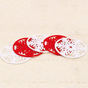 4pcs Christmas Red White Snowflake Glasses Mat Drinking Cup Tea Coaster Table Decoration Holiday 5167332