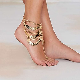 Gold Plated Anklet / Barefoot Sandals - Women's Golden Unique Design / Tassel / Vintage Jewelry Anklet For Party / Daily / Beach 5209253