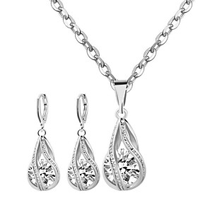 Women's Cubic Zirconia Jewelry Set - Sterling Silver, Zircon Fashion Include Necklace / Earrings White For Party Daily Casual
