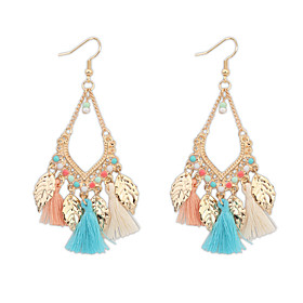 Women's Tassel Drop Earrings - Resin, Gold Plated Leaf Statement, Tassel, Vintage Red / Blue / Rainbow For Party Daily Casual