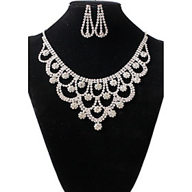 Women's Jewelry Set - Rhinestone Vintage, Fashion Include Necklace / Earrings White For Wedding Party