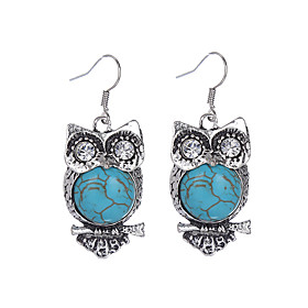 Women's Turquoise - Silver Plated, Imitation Diamond, Turquoise Owl Vintage, Bohemian Blue For Party Daily Casual
