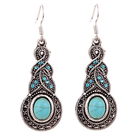 Women's Turquoise Earrings Rhinestone Silver Plated Earrings Flower Ladies Vintage Bohemian Boho western style Jewelry Blue For Party Daily Casual