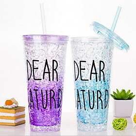 Summer Glass Ice Cup Straw Cup Handy Juice Cup (Random Color) 5179370