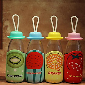 Creative 300ML Fruit Fabric Cover Transparent Glass Sports Cup Student Cup with Rope (Random Color) 5172926
