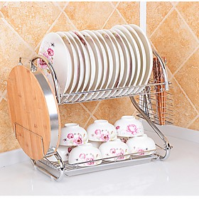 2 Tier Chrome Plate Dish Cutlery Cup Drainer Rack Drip Tray Plates Holder Silver Kitchen Storage Shelf 5216622