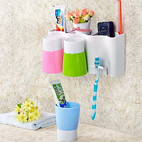 Wall Suction Toothbrush Holder Toothbrush Cup Wash Suite for Family of Three 5144185