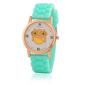 Kid Women's Silicone Band White Owl Case Jelly Silicone Band Analog Quartz Fashion Dress Casual Watch Strap Watch 5175492