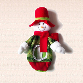 1pc Christmas Snowman Candy Bag Decoration Lovely Doll Props Dress Xmas Present 5137706