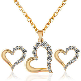 Women's Hollow Out Jewelry Set - Rhinestone Heart Fashion Include Necklace / Earrings Gold / White For Party Daily Casual