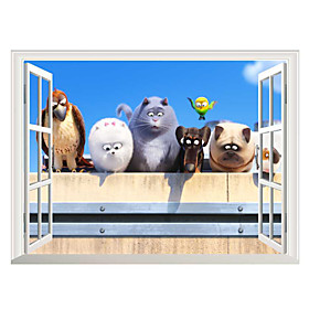 3D Wall Stickers Wall Decals Style The Secret Life of Pets PVC Wall Stickers 5227599