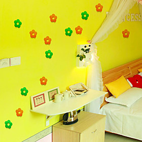 4PCS New Qualified Decoration Circles Creative Stereo Removable 3D DIY The Little Flower  Stickers 5191233