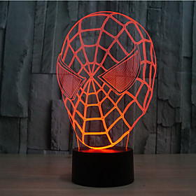 Spider-Man Touch Dimming 3D LED Night Light 7Colorful Decoration Atmosphere Lamp Novelty Lighting Light 5216694