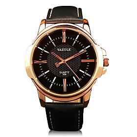 358 YAZOLE Fashion Men's Business Dress Watch Leather Strap Blue Ray Glass Analog Quartz Wrist Watches 5245366