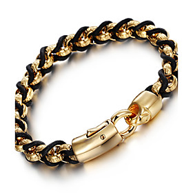 Kalen New 316L Stainless Steel 18K Indian Gold Plated Link Chain Bracelets Male ChainLeather Bracelets Men's Gifts 5307996