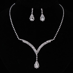 Women's Crystal Jewelry Set Sterling Silver, Rhinestone Drop Ladies, Fashion, Elegant Include Drop Earrings Pendant Necklace White / Blue For Wedding Party Ann