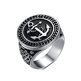 Men's Band Ring Signet Ring Stainless Steel Anchor Fashion Ring Jewelry Gold / Black For Christmas Gifts Party Daily Casual 8 / 9 / 10 / 11 / 12